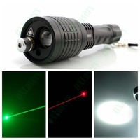 OXLasers New 3in1 LED Flashlight Torch with Green Laser and Red Laser Pointer powered by AAA*3 or 18650*1
