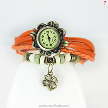 Lackingone &new sale Genuine Leather Vintage Watches Four Leaf Watches Clover Design Pendant Women Clock Bracelet Wristwatches