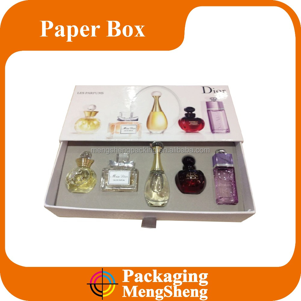 Custom printed color fancy paper drawer gift box for perfume set