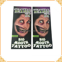 Best Price Custom Chic Fashion Trendy Colorful Big Mouth Tattoo Self Adhesive Waterproof Metallic Temporary Tattoo