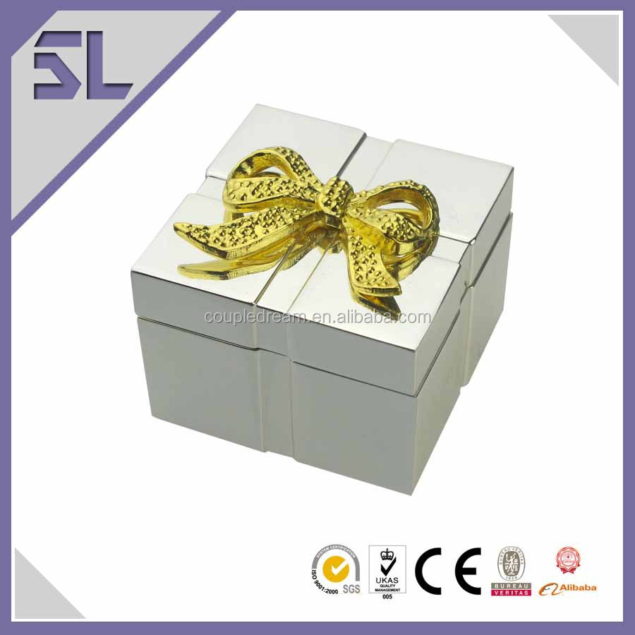 Box For Jewelry Mini Cube Gifts Design With Gold Bow Mirror Polish Plating Ring Jewelry Packaging Box Wholesale For Wedding Gift