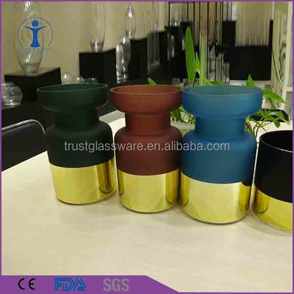 China hand blown antique blue black and gold green red frosted glass wedding cylinder flower vase wholesale
