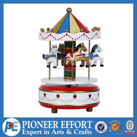 Wooden mechanical carousel music box mechanism movements for wedding gifts