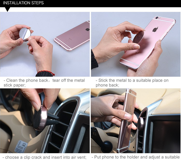 Customized Aluminium car magnetic mobile phone holder cell phone holder for car
