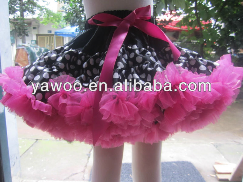 High recommended tutu petti skirt fluffy hot pink chiffon with black and white polka dot for baby gown dance wear party dress