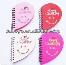 cute design PP cover Spiral Notebook & heart shaped spiral notepad
