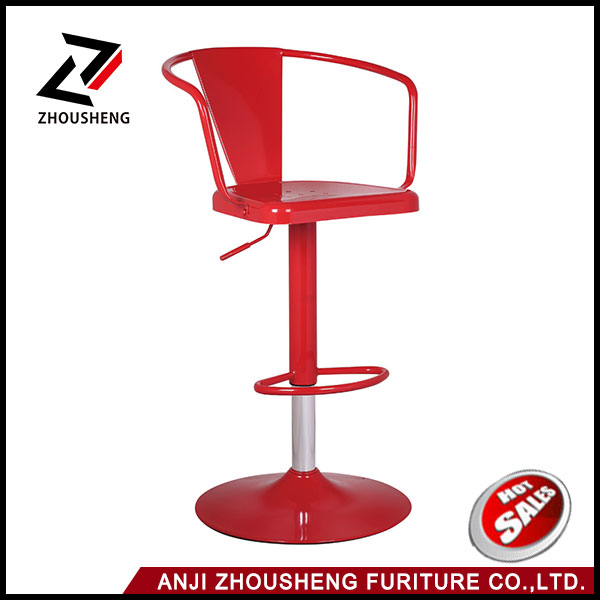 Metal Adjustable Bar Stool with Back and Full Swivel Black bar chair