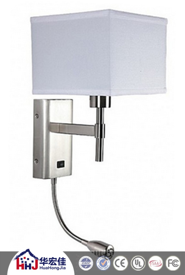 hotel wall mounted bedside lamp with power outlet at. Black Bedroom Furniture Sets. Home Design Ideas