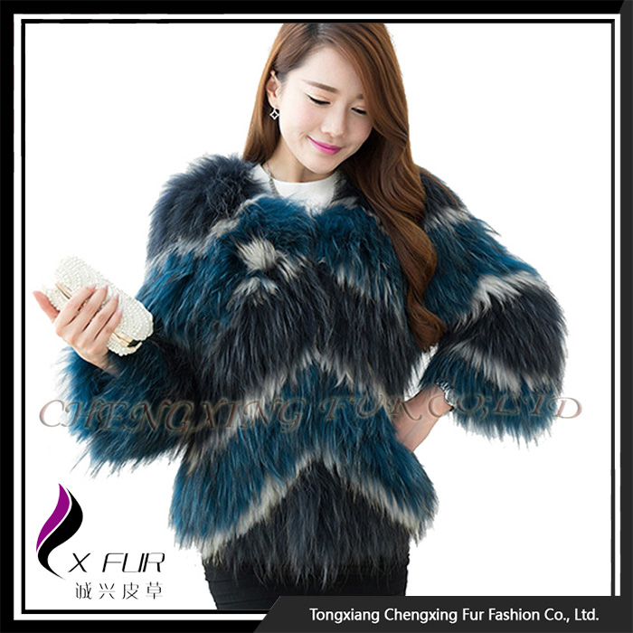 CX-G-A-118A Fancy Girl Knitted Raccoon Fur Jacket Coat For Winter