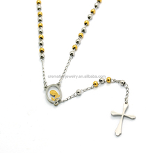 316l 3MM Beads Rosary Religious Necklace Hollow out Virgin Mary Pray for Us Portrait Cross Pendant Jewelry Necklace