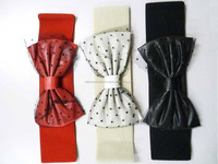 Trendy Ribbon Dot Gauze Elastic Waist Belt Stock Lot
