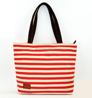 Zippered Stripe Canvas Beach Tote Bag Striped Shopping Bag