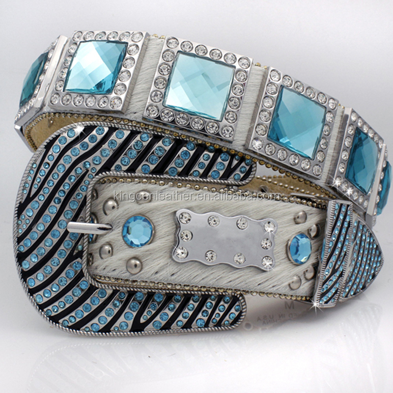 WHOLESALE WESTERN RHINESTONE TURQUOISE BLOCK CRYSTAL COWBOY BELTS FOR MEN