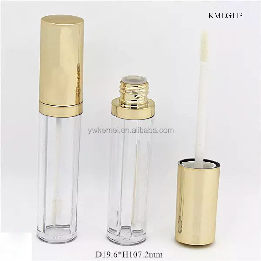 Gold cap lip gloss container, hot sale mold lip gloss tube packaging