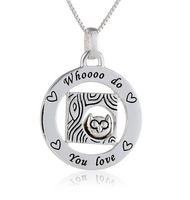 925 Sterling Silver Circle owl pendant necklace