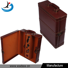 high quality glossy leather 2 bottle wine carrying case with handle