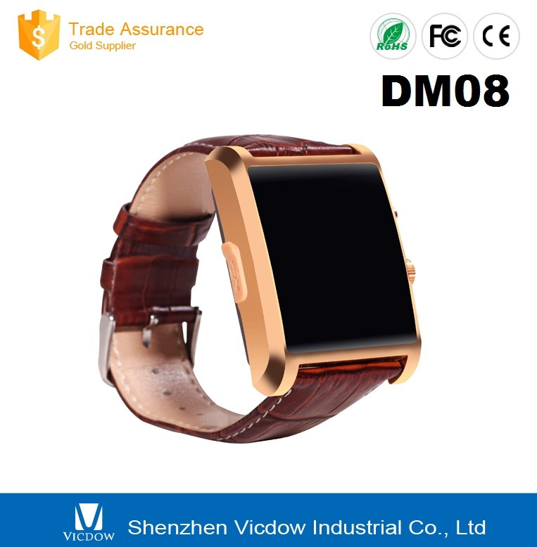 2015 Newest Hight quality bluetooth 4.0 leather android smart watch DM08 smartwatch for all system mobile phone