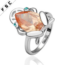 Romantic white gold plated with cz wholesale brown frog geometrical shape engagement wedding ring for women