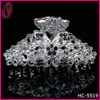 Hot sale large glitter metal rhinestone butterfly hair claw for thick hair