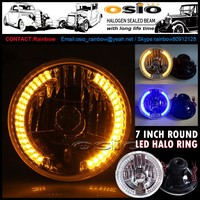 7 inch Round Semi Sealed Beam with Hood LED Halo Ring headlight Install H4 or HID H4 Xenon Bulb