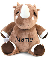 Stuffed Rhino with Embroidered Name Plush Toy