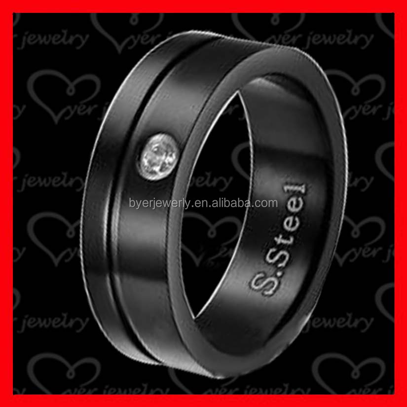 Cheap Sell Black Titanium Men Womens Diamond Wedding Band Engagement Stainless Steel Comfort Ring