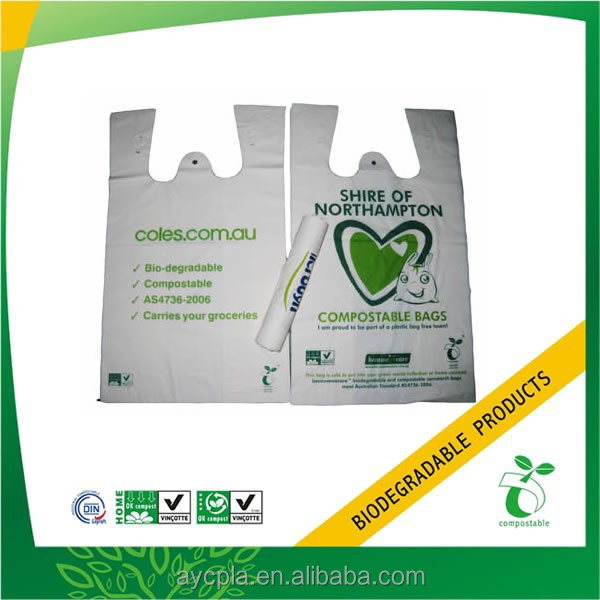 Cornstarch Biodegradable Eco Friendly Shopping Plastic Carry Bags with logo