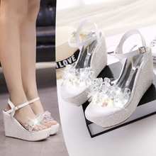 SAA3540 Fancy transparent bling rhinestone high platform wedge heel ladies sandals