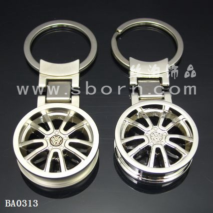 cute keychain Round 3D car tire shaped promotional keychains