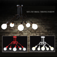 CE RoSH iron black or white or red Chandelier lamp GX-5109-5