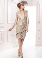 MOON BUNNY 2016 Charming Champagne Mother Of The Bride Dresses with Quarter Sleeve Jacket Lace And Satin Knee-length Sheath Moth