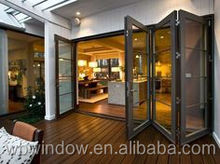 Folding door price PVC/UPVC horizontal accordion glass doors with grills