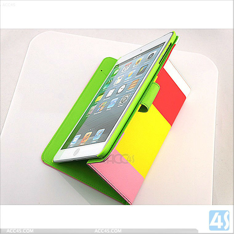 For ipad mini case Mix-Color PU Leather Case Cover Stand P-iPDMINICASE116