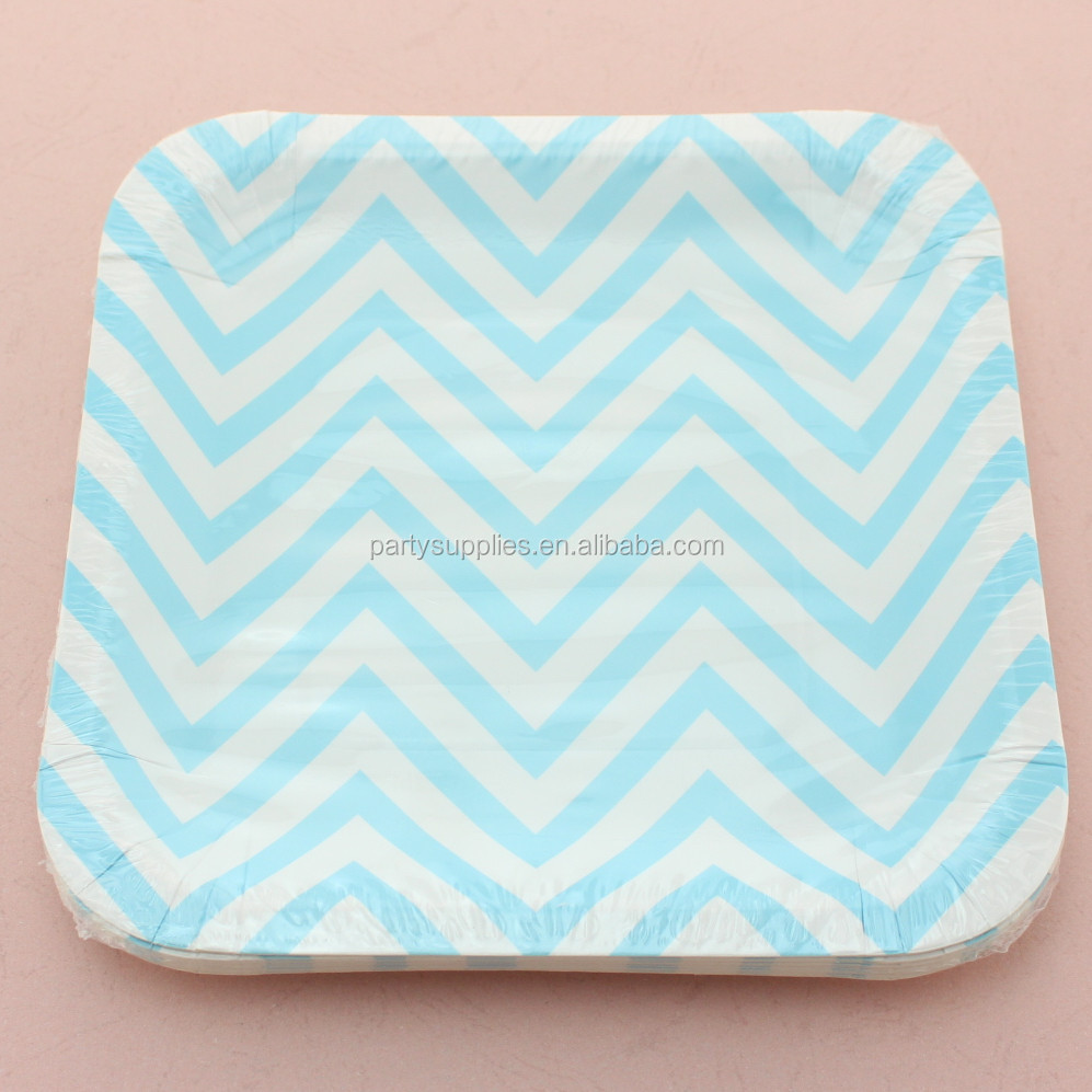 Colorful Ripple Food Tray Paper Plates for