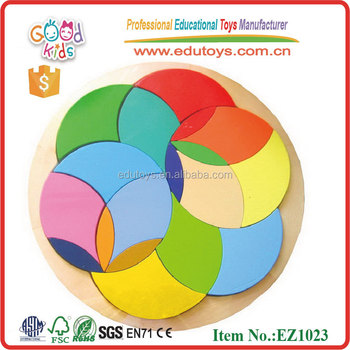 Colorful Circle Block Puzzle New Kids Wooden Toys