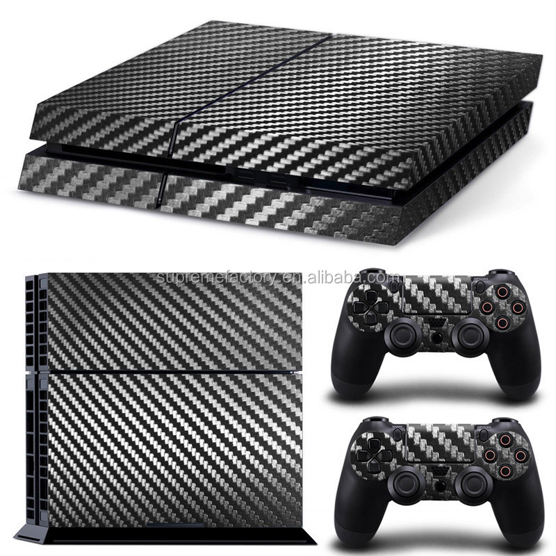 New Carbon Fiber Pattern Vinyl Decals Skin Sticker Set for PS4 Playstation 4 Controllers Console