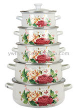 Non Stick Floral Decal White Cooking Pot 5 Pcs Enamel Cookware Set Double Handle With Glass Lid