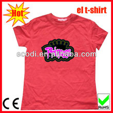 2013 branded low price casual el flashing tshirt,flashing shirt,flashing t-shirt