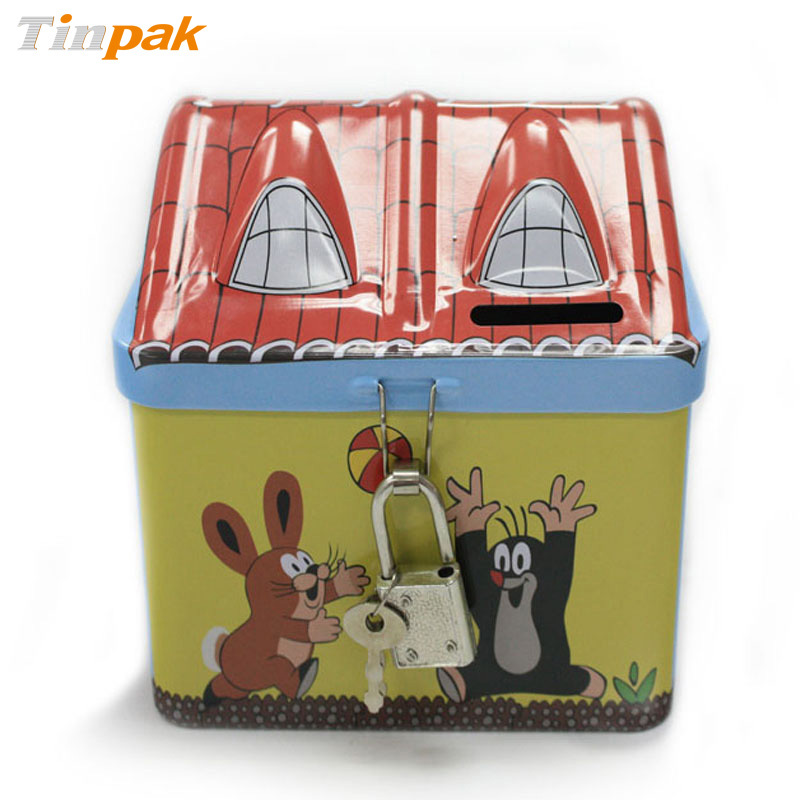house shape money tin box for Christmas gift