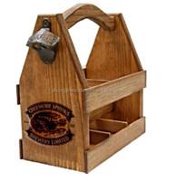 china factory BSCI rustic solid pine Wooden bar six pack beer beverage caddy carrier tote