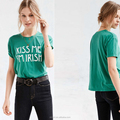 Fashion new design summer letter printed O-neck green color sleeveless women cotton t shirt