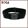 // classical pure black leather belts // pu women's belt with elastic //