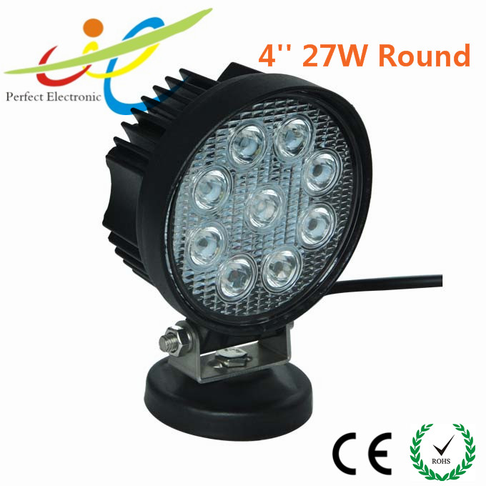 27w 9led Round Work Spot Pencil Beam Lamp Offroad Light for Truck 12/24v 4wd 4x4