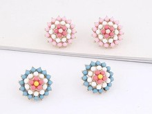 Womens Korean Style Pink Rose Flower Crystal Rhinestone Pearl Stud Earrings Wholesale