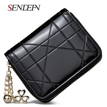 2017 New Design fashion Leather Women Short Card Holder The Wallet with black line