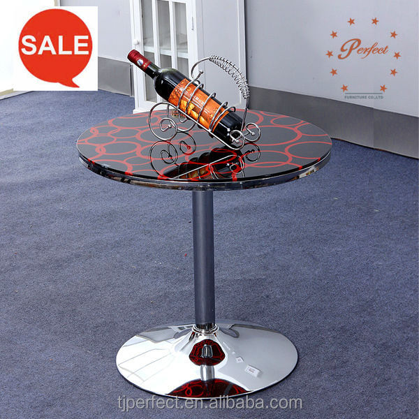 elegant living furniture Glass coffee end table with tempered glass and adjustable chrome leg YY-D1