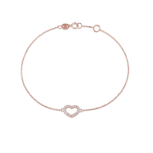 China Manufacturer 14K Rose Gold Plated Heart Shape Blank Link Bracelet 925 Sterling Silver Jewelry