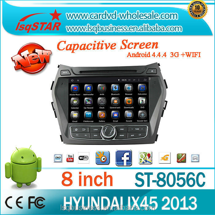 Android 4.4.4 Car DVD player with Quad-core 1024*600 Resolution 16GB Mirror for Hyundai IX45/Santa Fe 2013