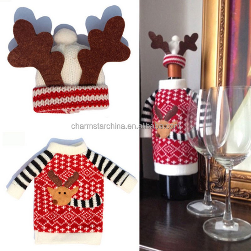 New Fashion Christmas decor!!! Knit Sweater design Christmas wine bottle cover