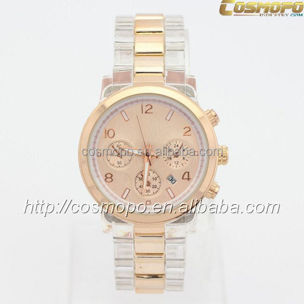 New Style Women Brand New Luxury Watch Fashion Stainless Steel+Amber Color Plastic Quartz Watch Lady's Clock Hoursc